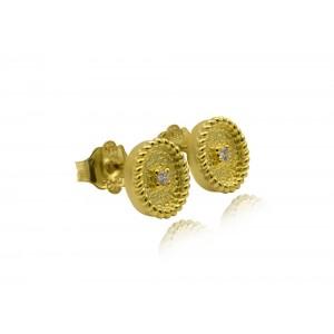 Βυζαντινά σκουλαρίκια οβάλ από Χρυσό Κ18 με διαμάντια 0.03ct