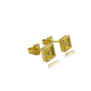 Βυζαντινά τετράγωνα σκουλαρίκια  από Χρυσό Κ18 με διαμάντια 0.03ct