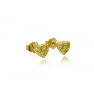 """Βυζαντινά σκουλαρίκια """"Καρδιές"""" από Χρυσό Κ18 με διαμάντια 0.03ct"""