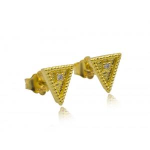 """Βυζαντινά σκουλαρίκια """"Τρίγωνα""""  από Χρυσό Κ18 με διαμάντια 0.03ct"""