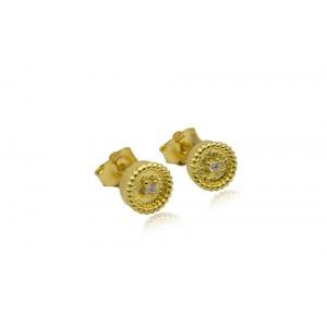 Βυζαντινά σκουλαρίκια στρογγυλά από Χρυσό Κ18 με διαμάντια 0.03ct