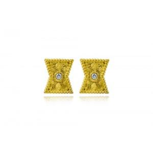 Βυζαντινά σκουλαρίκια  από Χρυσό Κ18 με διαμάντια 0.03ct