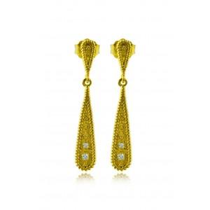 """Βυζαντινά σκουλαρίκια """"Σταγόνα"""" από Χρυσό Κ18 με διαμάντια 0.06ct"""