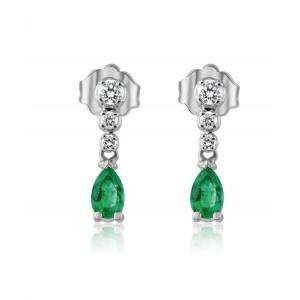 Κρεμαστά σκουλαρίκια με σμαράγδια και διαμάντια από λευκόχρυσο Κ18