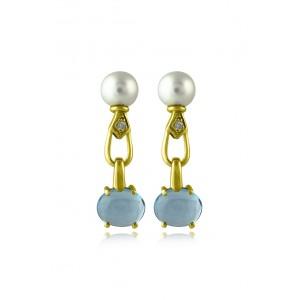 Κρεμαστά σκουλαρίκια με blue topaz, μαργαριτάρια και διαμάντια από χρυσό Κ18