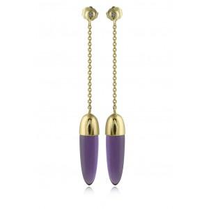 Κρεμαστά σκουλαρίκια με αμέθυστο και διαμάντια από χρυσό Κ18