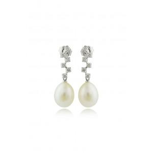 Κρεμαστά σκουλαρίκια με μαργαριτάρια και διαμάντια  από Λευκό Χρυσό Κ18