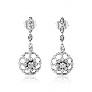 Κρεμαστά σκουλαρίκια vintage τεχνοτροπίας με διαμάντια από λευκόχρυσο Κ18