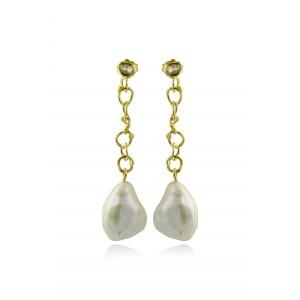 Κρεμαστά σκουλαρίκια από Χρυσό Κ18 με μαργαριτάρια Keshi και διαμάντια 0,18ct