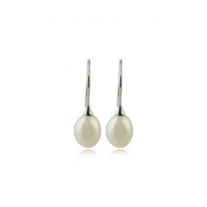Κρεμαστά σκουλαρίκια με μαργαριτάρια σταγόνα από λευκό χρυσό Κ18