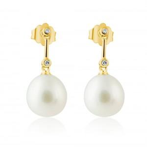 Κρεμαστά σκουλαρίκια από χρυσό Κ18 με μαργαριτάρια και διαμάντια