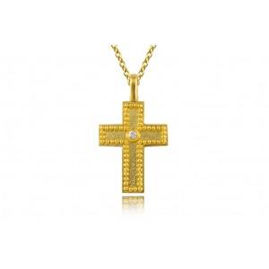 Βυζαντινός σφυρήλατος σταυρός από Χρυσό 14Κ με διαμάντι 0,03ct