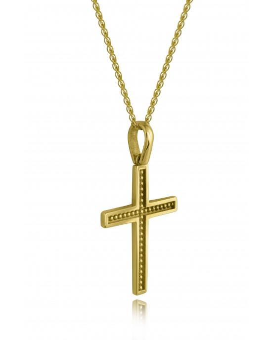 Σταυρός με γράνες από χρυσό Κ14 και αλυσίδα