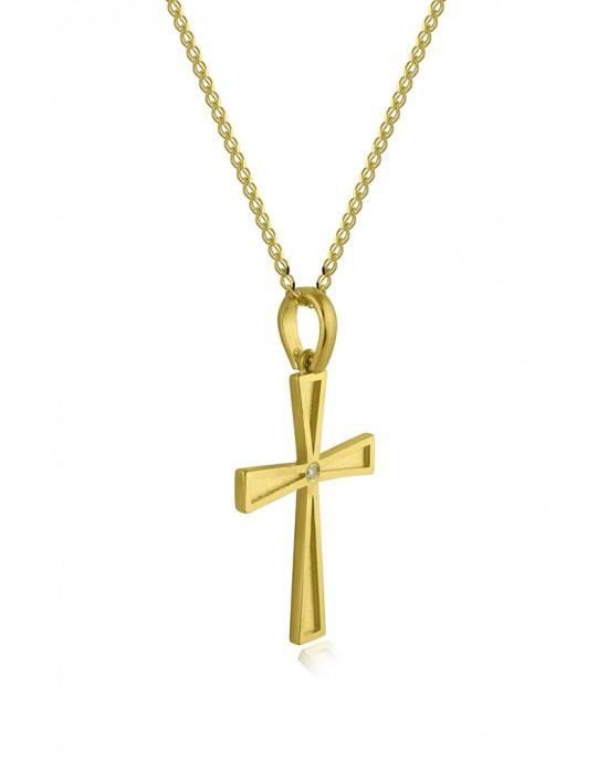 Σταυρός ματ με διαμάντι από χρυσό Κ14 και αλυσίδα