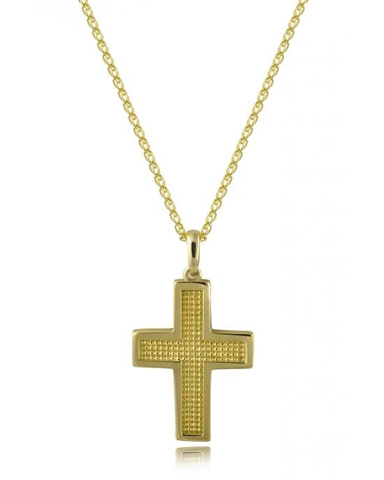 Σταυρός με διαγράμμιση από χρυσό Κ14 και αλυσίδα
