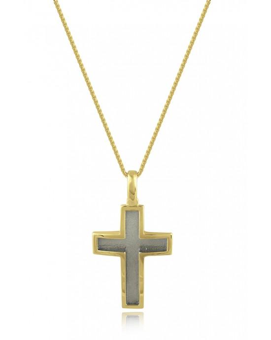 Σταυρός με σαγρέ φινίρισμα από χρυσό Κ14 και αλυσίδα
