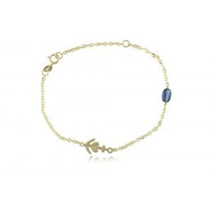 """Βραχιόλι """"Αγάπη, πίστη, ελπίδα"""" από χρυσό Κ14 με μπλε κυανίτη"""
