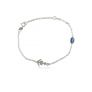 """Βραχιόλι """"Αγάπη, πίστη, ελπίδα"""" από λευκό χρυσό Κ14 με μπλε κυανίτη"""