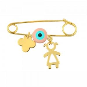 Παιδική παραμάνα Κ14 χρυσό κοριτσάκι με ματάκι και σταυρό