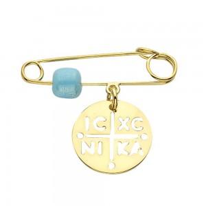 Παιδική παραμάνα Κ14 χρυσό με φυλαχτό (ΙΗΣΟΥΣ ΧΡΙΣΤΟΣ ΝΙΚΑ) και μπλε χάντρα από γυαλί Murano