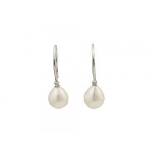 Σκουλαρίκια από Λευκό Χρυσό Κ18 με μαργαριτάρια και διαμάντια 0,03ct