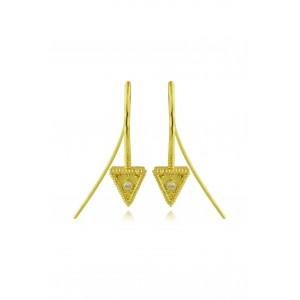 """Βυζαντινά σκουλαρίκια """"Τριγωνάκια"""" από Χρυσό Κ18 με διαμάντια 0.03ct"""