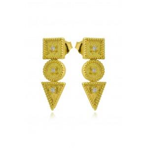 """Βυζαντινά σκουλαρίκια """"Τετράγωνο - Κύκλος - Τρίγωνo""""  από Χρυσό Κ18 με διαμάντια 0.09ct"""