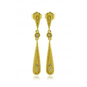 """Βυζαντινά σκουλαρίκια """"Σταγόνα"""" από Χρυσό Κ18 με διαμάντια 0.10ct"""