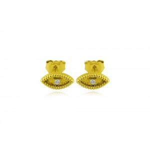 """Βυζαντινά σκουλαρίκια """"Ματάκι"""" από Χρυσό Κ18 με διαμάντια 0.03ct"""