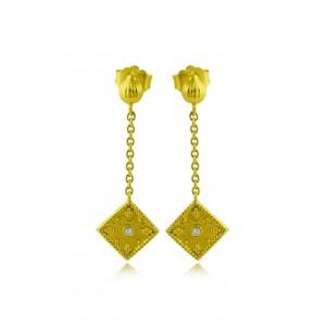 """Βυζαντινά σκουλαρίκια """"Ρόμβοι"""" από Χρυσό Κ18 με διαμάντια 0.03ct"""