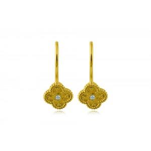"""Βυζαντινά σκουλαρίκια """"Σταυρουδάκι"""" από Χρυσό Κ18 με διαμάντια 0.03ct"""