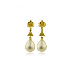 Κρεμαστά σκουλαρίκια από χρυσό Κ18 με μαργαριτάρι