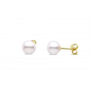 Καρφωτά σκουλαρίκια με λευκά button μαργαριτάρια 8-8.5mm από χρυσό Κ18