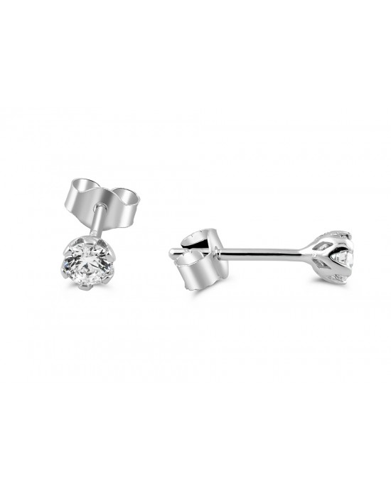 Καρφωτά σκουλαρίκια με ζιργκόν 3mm από λευκόχρυσο Κ14