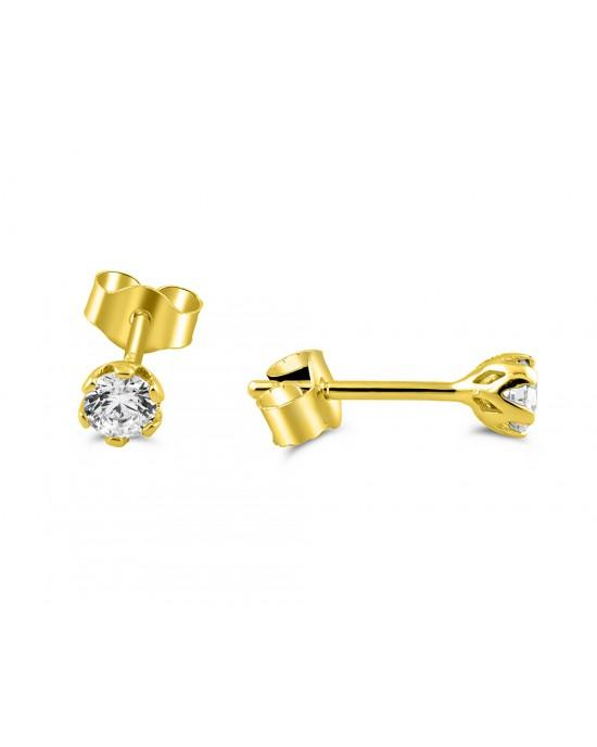 Καρφωτά σκουλαρίκια με ζιργκόν 3mm από χρυσό Κ14