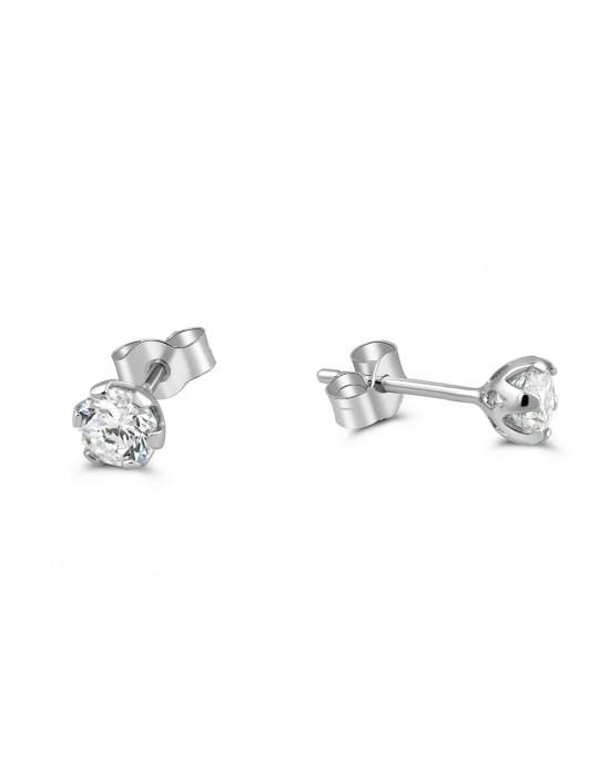 Καρφωτά σκουλαρίκια με ζιργκόν 4mm από λευκόχρυσο Κ14