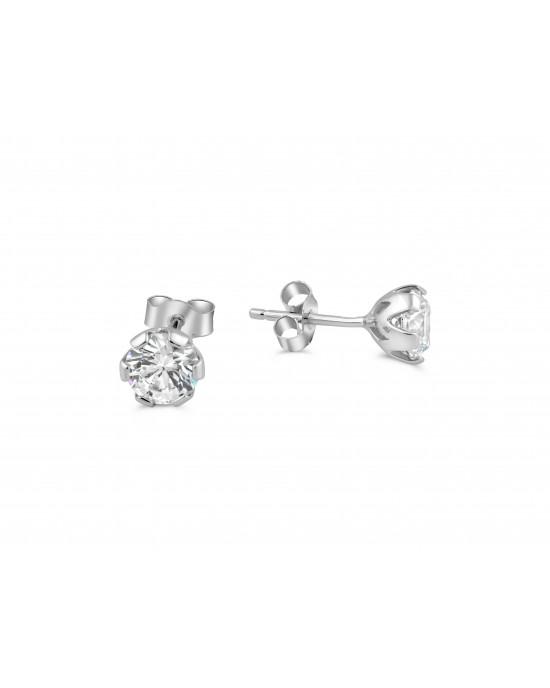Καρφωτά σκουλαρίκια με ζιργκόν 5mm από λευκόχρυσο Κ14