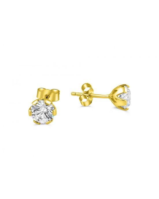 Καρφωτά σκουλαρίκια με ζιργκόν 5mm από χρυσό Κ14