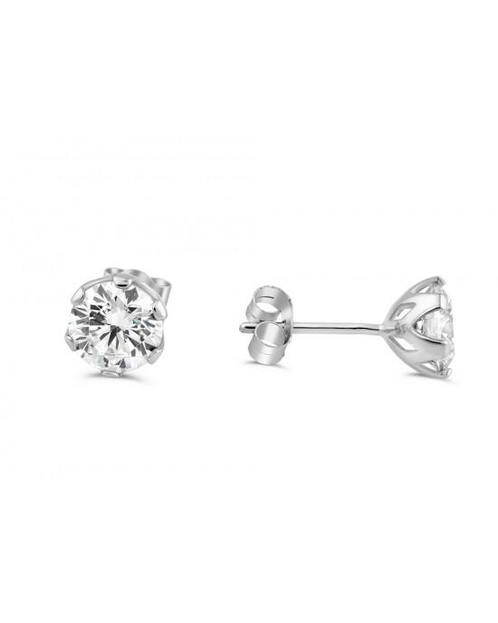 Καρφωτά σκουλαρίκια με ζιργκόν 6mm από λευκόχρυσο Κ14