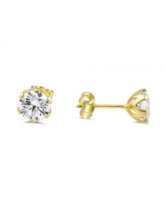 Καρφωτά σκουλαρίκια με ζιργκόν 6mm από χρυσό Κ14