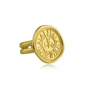 """Δαχτυλίδι """"Η σφραγίδα της Φιλικής Εταιρείας"""" Γούρι 2021 επιχρυσωμένο ασήμι 925°"""