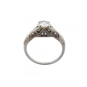 Vintage Edwardian μονόπετρο δαχτυλίδι από λευκόχρυσο Κ18 με διαμάντι 0.34ct rose cut