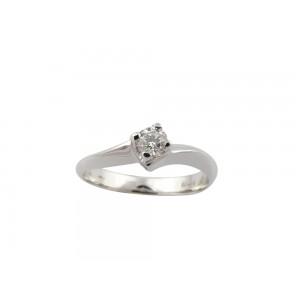 Mονόπετρο δαχτυλίδι φλόγα από λευκόχρυσο Κ18 με διαμάντι 0,18ct