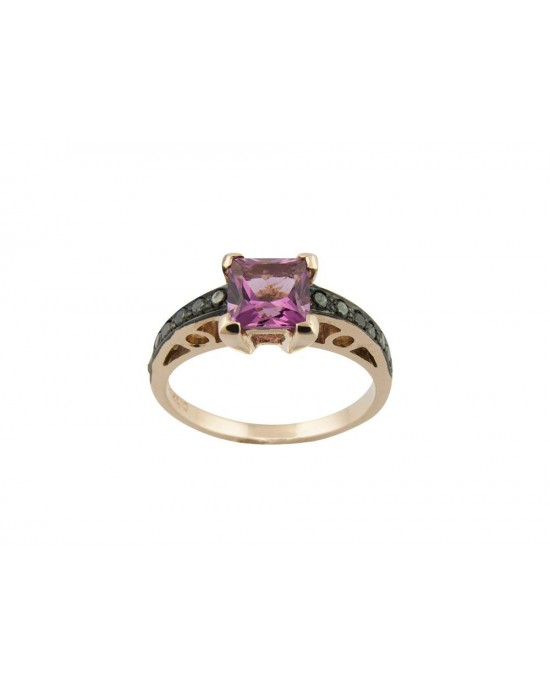 Δαχτυλίδι με ροζ τουρμαλίνη και μαύρα διαμάντια art deco από ροζ χρυσό Κ18