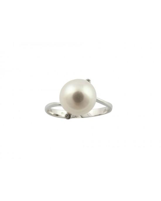 Δαχτυλίδι με μαργαριτάρι και διαμάντια στο πλάι από λευκόχρυσο Κ18