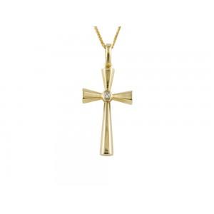 Βυζαντινός σταυρός από χρυσό Κ18 με διαμάντι και ρουμπίνι