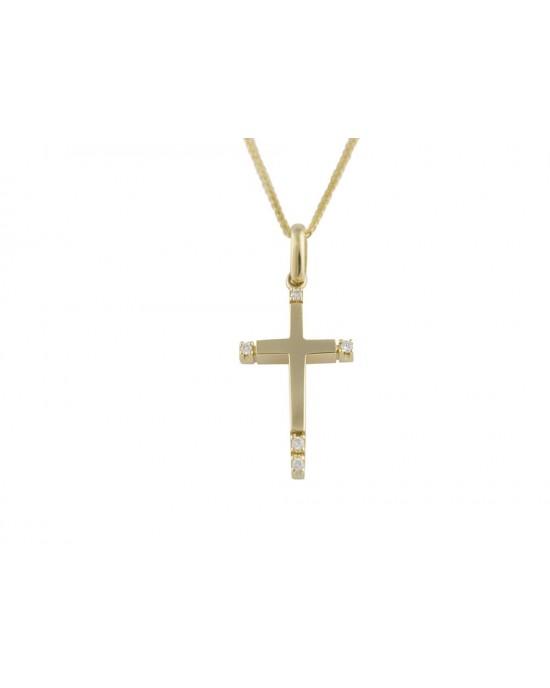 Γυναικείος σταυρός από χρυσό Κ14 με ζιρκόν και αλυσίδα