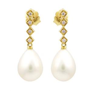 Σκουλαρίκια από Χρυσό Κ14 με μαργαριτάρια και διαμάντια 0,10ct