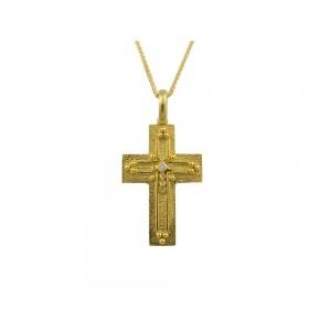 Βυζαντινός σταυρός από χρυσό Κ14 με διαμάντια