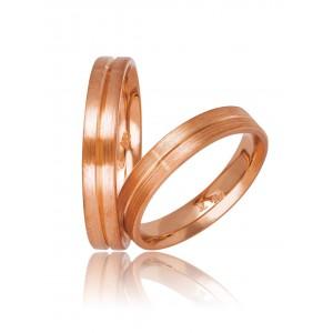 Βέρες Γάμου Ροζ Χρυσός Στεργιάδης 736 Κ9 Κ14 ή Κ18 4.00 χιλ.